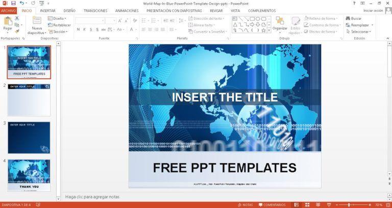 Plantilla mundo azul para PowerPoint Negocios